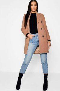 Womens Double Breasted Wool Look Coat - beige - 10, Beige