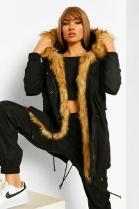 Womens Boutique Faux Fur Trim Parka - black - 16, Black