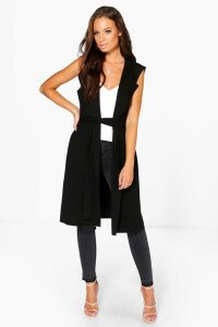 Womens Sleeveless Belted Duster - black - M/L, Black