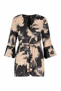 Womens Floral Wrap & Ruffle Sleeve Playsuit - black - 14, Black