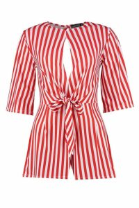 Womens Stripe Twist Front Playsuit - red - 8, Red