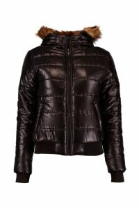 Womens Faux Fur Hood Bubble Coat - black - 12, Black