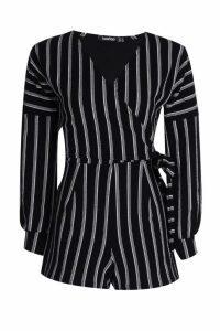 Womens Striped Balloon Sleeve Playsuit - black - 14, Black