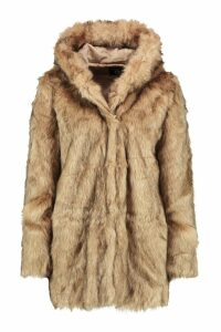 Womens Boutique Hooded Faux Fur Coat - beige - 8, Beige