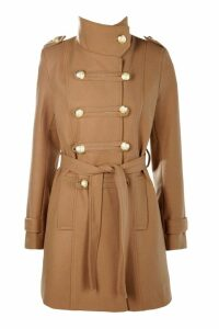 Womens Military Wool Look Coat - beige - 14, Beige