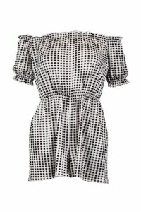 Womens Gingham Off The Shoulder Gypsy Style Playsuit - black - 10, Black