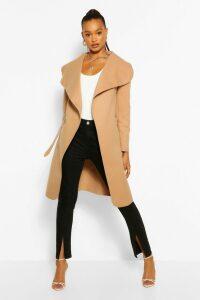 Womens Belted Shawl Collar Coat - beige - One Size, Beige