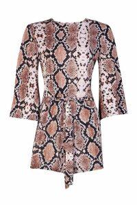 Womens Snake Print Kimono Sleeve Playsuit - brown - 8, Brown