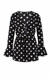 Womens Polka Dot Tie Front Playsuit - black - 14, Black
