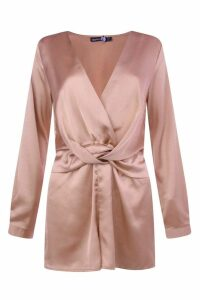 Womens Twist Front Satin Playsuit - pink - 8, Pink