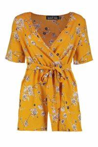 Womens Kimono Wrap Front Tie Belt Playsuit - yellow - 10, Yellow