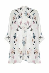 Womens Rose Print Chiffon Kimono - white - S/M, White