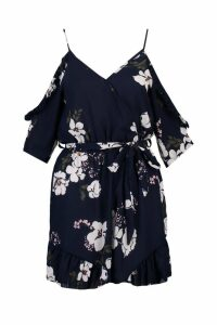 Womens Floral Cold Shoulder Ruffle Playsuit - navy - M, Navy