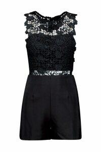 Womens Crochet Playsuit - black - S, Black