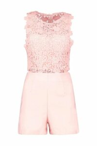 Womens Crochet Playsuit - pink - L, Pink