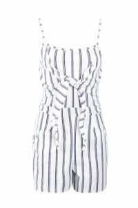Womens Tie Front Striped Playsuit - white - 10, White