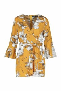 Womens Floral Wrap & Ruffle Sleeve Playsuit - Orange - 8, Orange