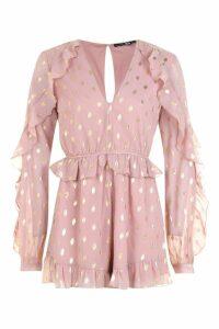 Womens Metallic Spot Chiffon Playsuit - pink - 10, Pink