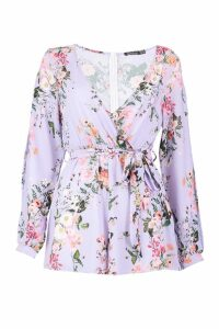 Womens Split Sleeve Wrap Front Floral Playsuit - purple - 16, Purple