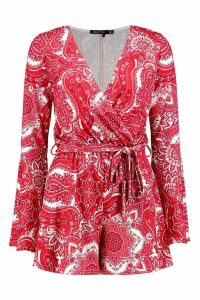 Womens Wrap Paisley Playsuit - red - 8, Red