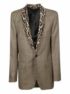 R13 Leopard Detail Shawl Blazer