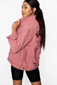 Womens Distressed Oversize Denim Jacket - pink - 14, Pink