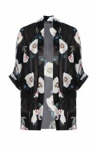 Womens Rose Print Chiffon Kimono - black - M/L, Black
