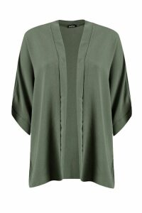 Womens Crepe Kimono - green - M/L, Green