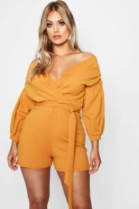 Womens Plus Wrap Off The Shoulder Playsuit - orange - 18, Orange