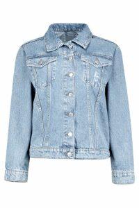 Womens Oversized Denim Boyfriend Jacket - blue - 16, Blue