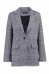 Womens Check Wool Look Blazer Coat - black - 12, Black