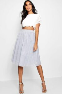 Womens Woven Lace Top & Contrast Midi Skirt Co-Ord - grey - 16, Grey