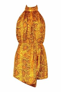 Womens Snake Print Satin roll/polo neck Playsuit - yellow - 10, Yellow