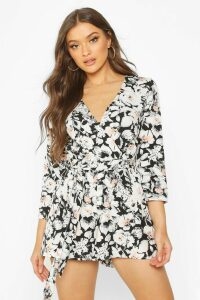 Womens Wrap Front Floral Print Playsuit - multi - 8, Multi