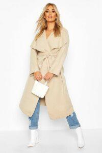Womens Plus Wool Look Coat - beige - 20, Beige