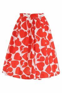MSGM Heart Print Midi Skirt