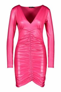 Womens PU Ruched Front Mini Dress - Pink - 12, Pink