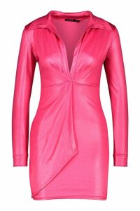 Womens PU Wrap Over Mini Dress - Pink - 8, Pink