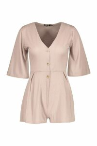 Womens Ribbed Button Down Playsuit - beige - 8, Beige