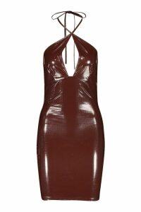 Womens Croc Vinyl Strappy Mini Dress - brown - 10, Brown