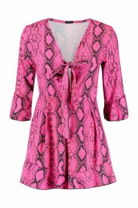 Womens Snake Print Knot Front Playsuit - Pink - 14, Pink