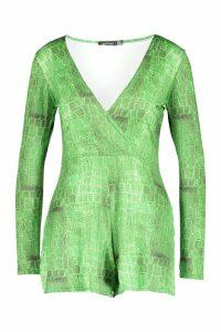 Womens Croc Print Slinky Wrap Playsuit - green - 12, Green