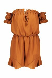 Womens Off Shoulder Gypsy Style Playsuit - brown - 12, Brown