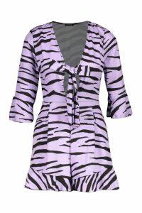 Womens Zebra Print Knot Front Playsuit - purple - 14, Purple