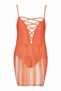 Womens Fishnet Lace Up Plunge Mini Dress - orange - 6, Orange