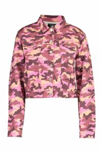 Womens Camo Cropped Denim Jacket - Pink - 12, Pink