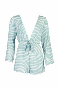 Womens Pastel Zebra Knot Front Playsuit - green - 10, Green