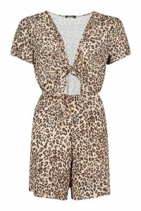 Womens Leopard Print Cut Front Playsuit - multi - 16, Multi