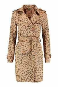 Womens Suedette Leopard Print Belted Trench - beige - L, Beige