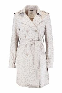 Womens Suedette Leopard Print Belted Trench - grey - L, Grey